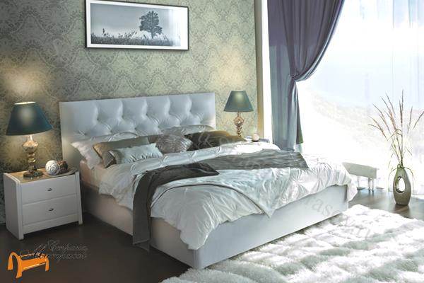 Аскона Кровать двуспальная Monica , экокожа белая, кровать фенди, кровать Fendi