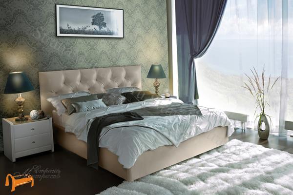 Аскона Кровать двуспальная Fendi с подъемным механизмом, Hilding Anders , экокожа бежевая, кровать фенди, кровать Fendi