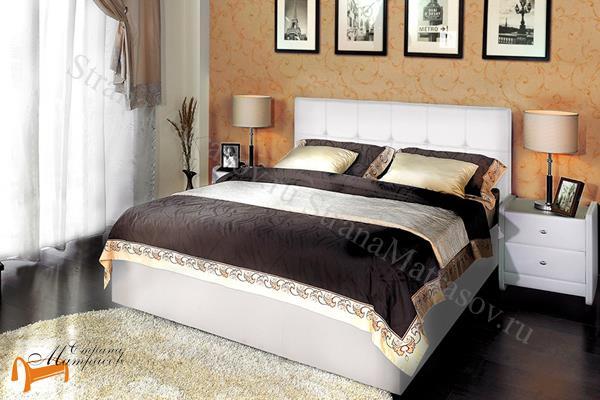Аскона Кровать Greta с подъемным механизмом , экокожа белая, кровать Марта, кровать Marta