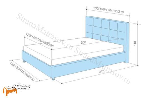 Аскона Кровать Sandra , экокожа, кровать Сандра, белая, черная, кремовая, коричневая, красная, серая, золотая, схема