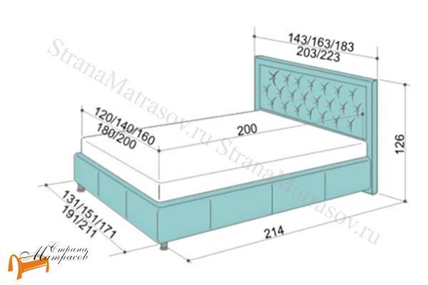 Аскона Кровать Simona с подъемным механизмом , экокожа, кровать Симона, белая, черная, кремовая, коричневая, красная, серая, золотая, схема