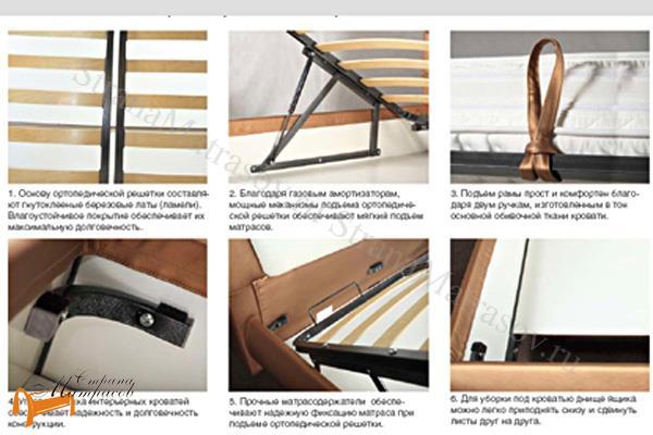 Аскона  двуспальная Marlena с подъемным механизмом , крепления, кровать фенди, кровать Fendi, марлена, моника, monica