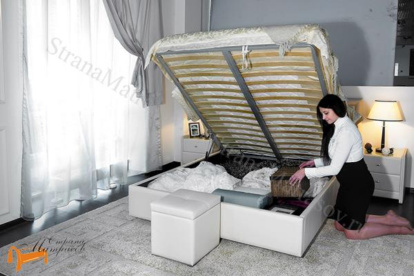 Аскона Кровать двуспальная Amelia с подъемным механизмом , экокожа, кровать Амелия, белая, черная, кремовая, коричневая