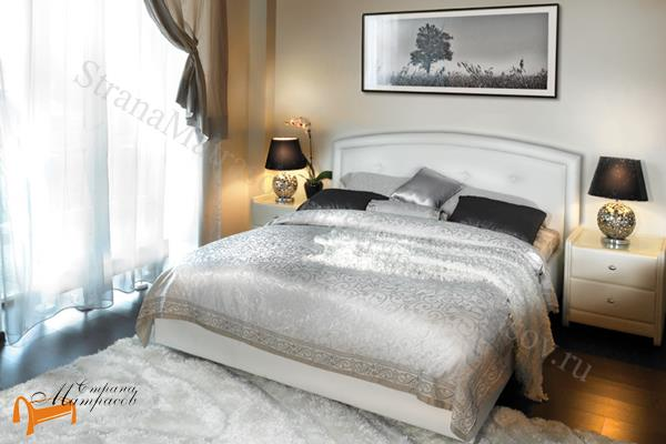 Аскона Кровать двуспальная Grace с подъемным механизмом , экокожа белая, кровать кассандра, кровать Cassandra