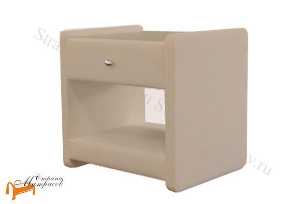 Аскона Тумба прикроватная Классик 1 , экокожа, с выдвижным ящиком, бежевая тумба