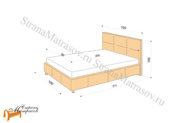 Аскона Кровать Leo с подъемным механизмом , ДВП, березовая фанера, мебельный пенополиуретан, обивка, экокожа, ящик