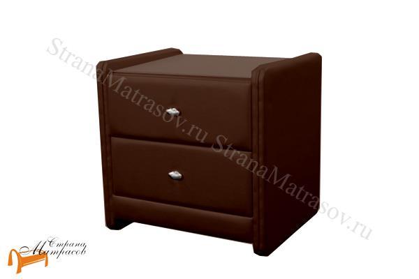 Аскона Тумба Классик 2 , экокожа, с выдвижным ящиком, с двумя ящиками, коричневая тумба