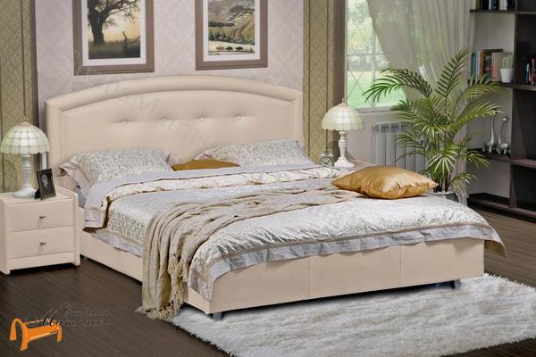 Аскона Кровать двуспальная Grace с подъемным механизмом , экокожа бежевая, кровать кассандра, кровать Cassandra