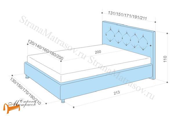 Аскона Кровать двуспальная Monica , схема, кровать фенди, кровать Fendi