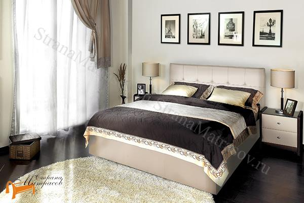 Аскона Кровать Fabiano с подъемным механизмом, Hilding Anders , экокожа кремовая, кровать Марта, кровать Marta