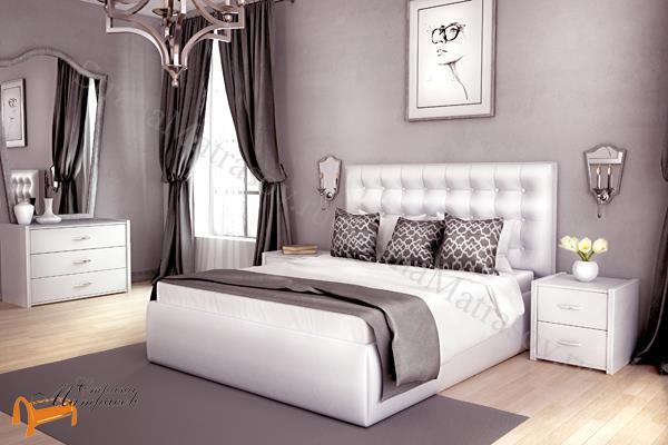 Lonax Кровать Аврора с основанием , березовые ламели, экокожа, коричневый, белый, перламутровый, пуговки
