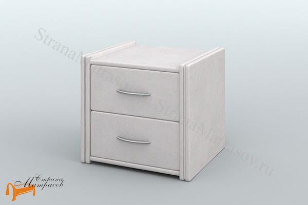 Lonax Тумба прикроватная Лонакс 1 , экокожа, два ящика, коричневая, перламутровая, белая