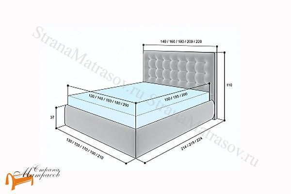 Lonax Кровать Аврора с подъемным механизмом , березовые ламели, экокожа, коричневый, белый, перламутровый, пуговки