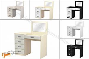 Орматек -  Туалетный стол Como/Veda с зеркалом в столешнице (4 ящика, левый, экокожа и ЛДСП)