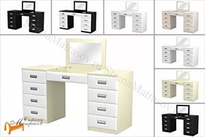 Орматек -  Туалетный стол Como/Veda с зеркалом в столешнице (8 ящиков, экокожа и ЛДСП)