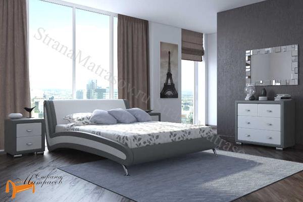 Орматек  двуспальная Corso 2 , экокожа, серый, белый, кровать Корсо