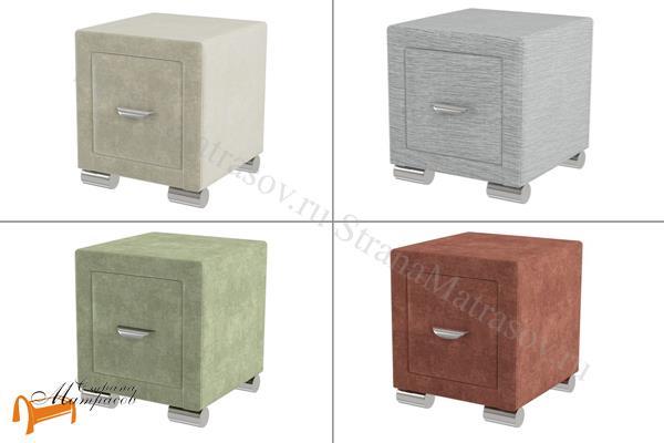Орматек Тумба прикроватная узкая Orma Soft 2 , экокожа, ткань,велюр, один ящик,  бежевая, коричневая, кремовая, чёрная, белая, крокодил, жемчуг, молочный, серый, зеленый