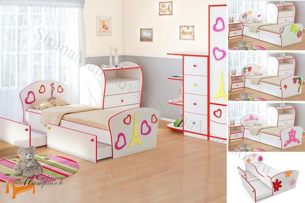 Орматек - детская кровать Орматек Соната Kids Плюс (для девочек) с ящиками и с основанием