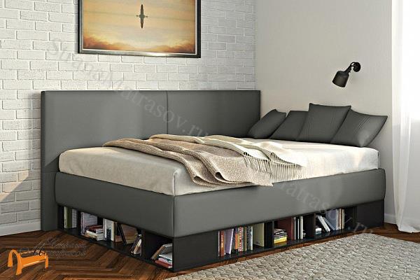 Орматек Кровать Lancaster 1 - тахта с подъемным механизмом , угловая кровать, экокожа, лдсп, ткань, ящик, белая, черная, кремовая, с полками, бежевая, серая, зеленая, красная,