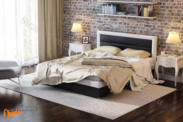 Райтон Кровать Life 2 с основанием , черно - белый, экокожа, люкс