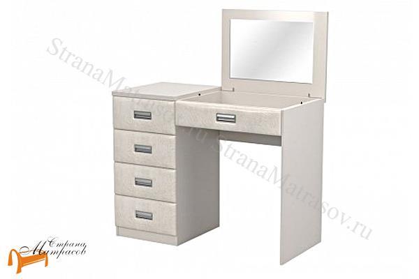 Орматек  Como / Veda левый с зеркалом (4 ящика, экокожа и ЛДСП)  , Комо,  Веда, туалетный столик, ЛДСП, экокожа, зеркало, ящик, ткань, рогожка, велюр, белый, черный, кремовый, бежевый,