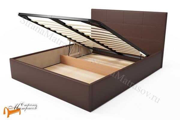 Орматек Кровать Alba с подъемным механизмом , альба, коричневая, экокожа, люкс, шоколадная, белая, черная, бежевая, кремовая, ящик