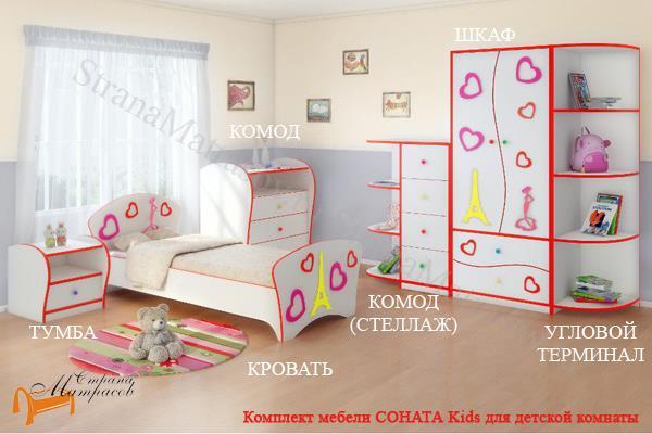 Орматек Комод Соната Kids (4 ящика) , лдсп, мдф, ящик
