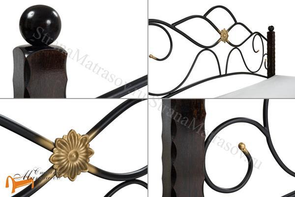 Райтон Кровать Garda 3 с основанием , дерево гевеи, металл, банкетка, белая, черная