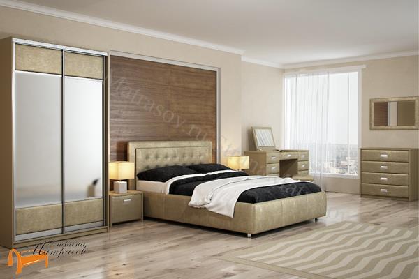 Орматек Кровать Veda 2 с основанием , экокожа, ткань, рогожка, велюр, золото, олива, белый, чёрный, кремовый, бежевый, коричневый, зеленый, красный, ящик, стразы