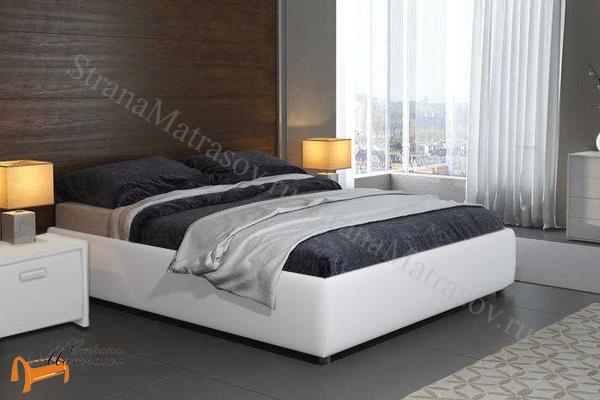 Орматек Кровать Veda 1 Base с основанием , экокожа, без изголовья, цвет белый, цвет крокодил