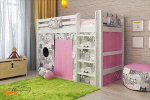 Райтон - Детская кровать полувысокая Отто 5 с прямой лестницей и основанием