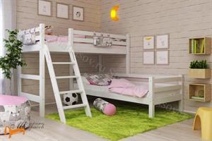 Райтон - Кровать угловая полувысокая Отто 8 с наклонной лестницей и основанием