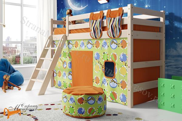 Райтон - детская кровать Райтон полувысокая Отто 6 с наклонной лестницей и основанием