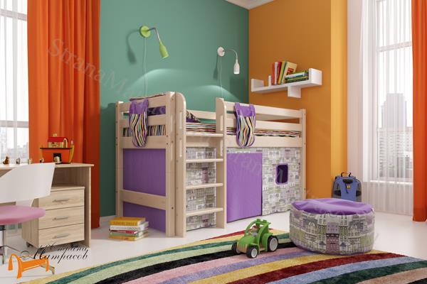 Райтон - детская кровать Райтон низкая Отто 11 с прямой лестницей и основанием
