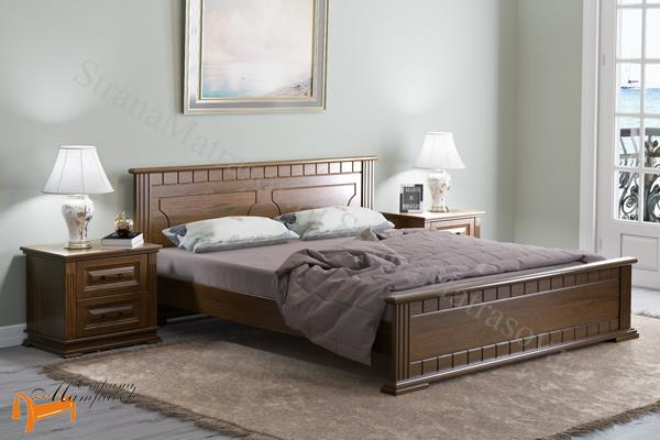 Райтон Кровать Milena с основанием , натуральное дерево, классика, сосна, слоновая кость, орех, коричневый, венге, белый