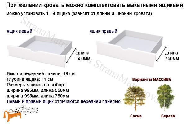 Райтон Кровать Milena М - тахта с основанием , натуральное дерево, классика, сосна, береза, слоновая кость, орех, коричневый, венге, белый, розовый, лаванда, шоколад, ящик