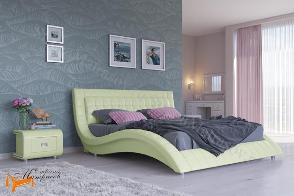 Орматек Кровать двуспальная Атлантико , экокожа, черная, бежевая, коричневая, белая, кремовая, ткань, рогожка, олива, серый, лен,
