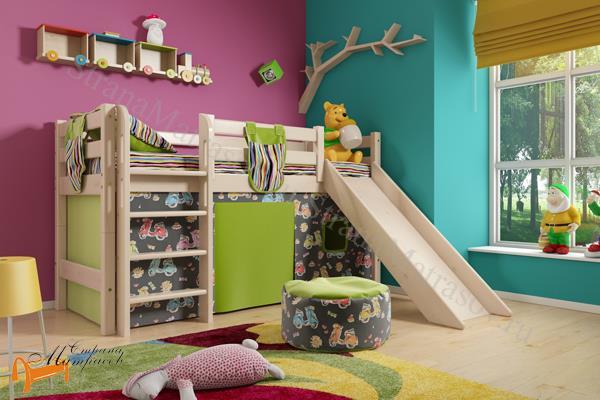 Райтон - детская кровать Райтон низкая Отто 13 с прямой лестницей, горкой и основанием