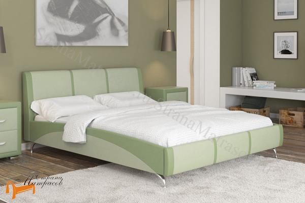 Райтон Кровать двуспальная Nuvola 5  , экокожа, бежевая, коричневая, кремовая, чёрная, белая, крокодил, жемчуг, молочный, серый, зеленый