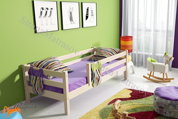 Райтон Кровать Отто 3 с бортиком и основанием , натуральное дерево, сосна, ящик