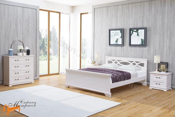 Райтон Кровать Nika с основанием , натуральное дерево, классика, сосна, Орех, венге, красно-коричневый, слоновая кость, белая эмаль