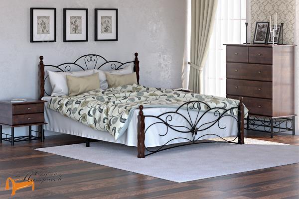 Райтон Кровать Garda 11R с основанием , кровать кованная с массивом, цвет белый, венге, орех, двуспальная, с основанием