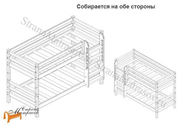 Райтон Кровать Отто 9 с прямой лестницей и основанием , натуральное дерево, сосна, ящик