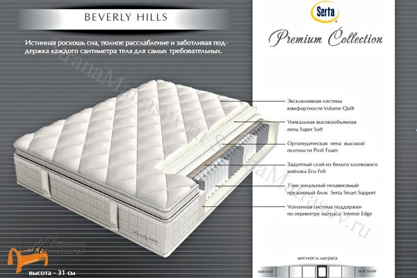 Serta (США) Матрас Beverly Hills (Premium Collection) 7 зон , беверли хилс, матрас серта