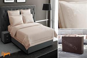 Verda -  Комплект постельного белья Verda песочный сатин (простынь на резинке на высоту матраса до 47см)