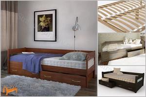 DreamLine - Кровать Тахта с выкатными ящиками (с основанием)