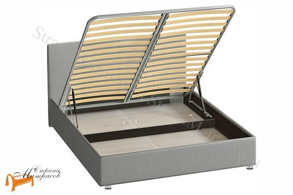 Сонум Кровать Prato с подъемным механизмом и ящиком , место для хранения, экокожа, прато, экокожа, велюр, коричневый, бежевый, белый