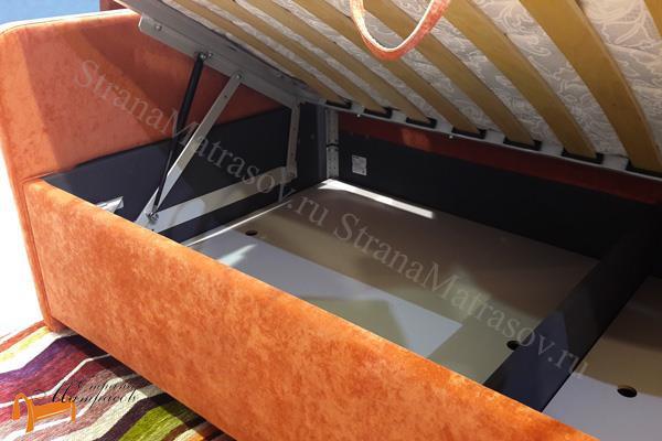 Сонум Кровать Uno с подъемным механизмом и ящиком , экокожа, уно, с подъемным механизмом, ортопедическое основание, экокожа, велюр, коричневый, бежевый, белый